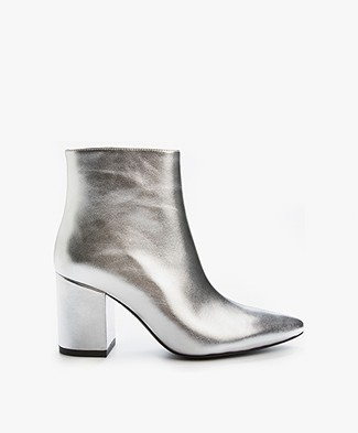 Anine Bing Natalie Leather Boot - Silver