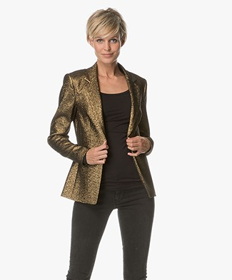 Drykorn Golders Tailored Blazer - Gold Lurex