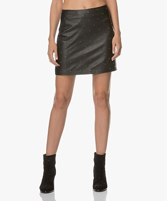 Drykorn Yuna Leather Mini-skirt with Studs - Black