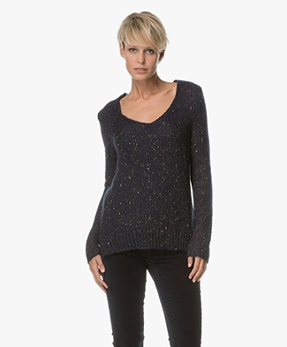 Indi & Cold Knitted Pullover with Lurex Yarns - Marino