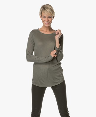 Repeat Modal and Cashmere Long Sleeve - Khaki