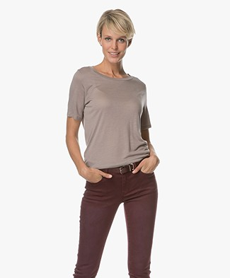 Repeat Modal and Cashmere T-shirt - Stone