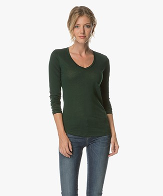 Closed V-neck Long Sleeve in Cashmere Blend - Hamptons Green