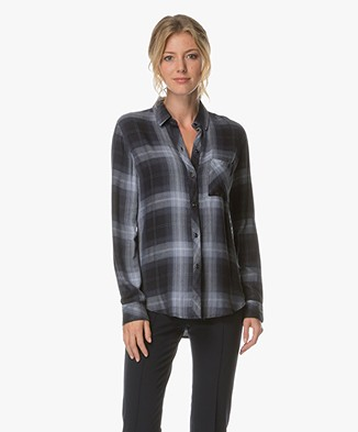 Rails Hunter Checkered Blouse - Midnight Storm