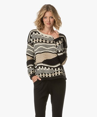 Ba&sh Tingo Pullover with Lurex Details - Gold/Black/Off-white