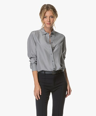Filippa K Washed Silk Blouse - Steel Grijs
