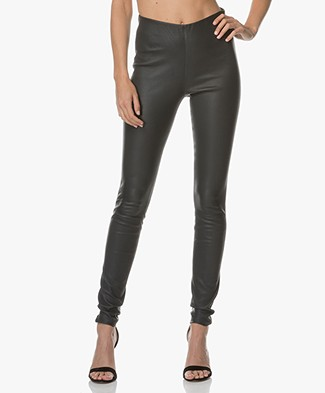 By Malene Birger Elenasoo Leren Legging - Charcoal