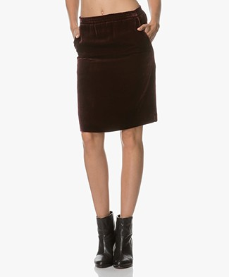 Drykorn Janice Velvet Knee-length Skirt - Burgundy