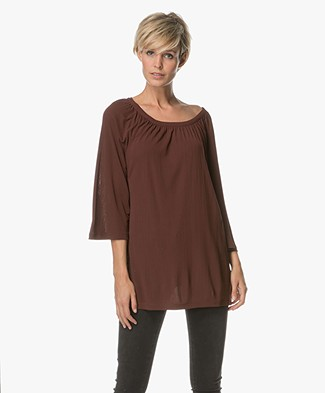Filippa K Gathered Scoop Neck Blouse - Fig