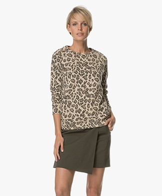 Ragdoll LA Distressed Leopard Sweatshirt - Faded Leopard