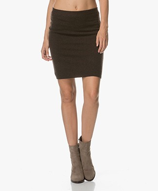 Repeat Cashmere Knitted Skirt - Dark Brown