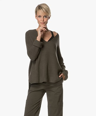 Repeat Oversized Merino Pullover with V-neck - Leaves