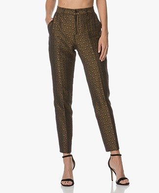 Closed Jazz Jacquard Pants - Black/Dark Blue/Gold