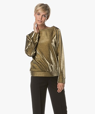 Drykorn Timka Cotton Blend Shirt - Gold Lurex