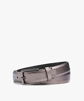 Drykorn Curly Craquelé Leather Belt - Silver