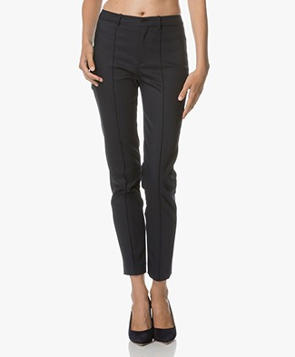 Drykorn Pants Act in Fine Cotton-stretch - Dark Navy