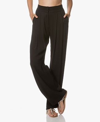 Magali Pascal Joey Viscose Wide Leg Pants - Black