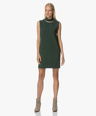 Theory Slit Collar Sleeveless Dress - Dark Billiard