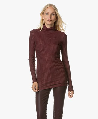 Drykorn Saree Lurex Ribbed Top with Turtleneck - Burgundy