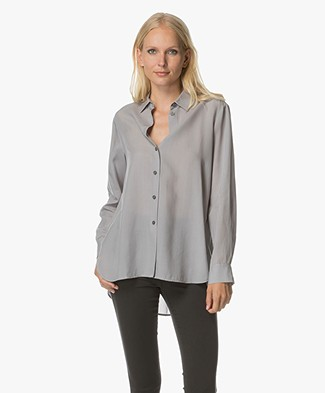 Filippa K High-Low Tencel Blouse - Steel Grijs