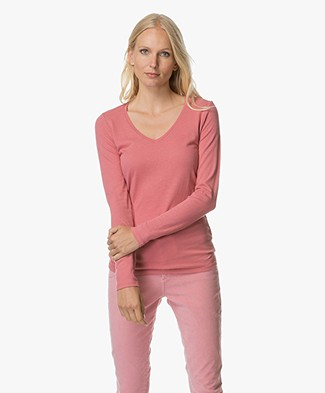 Majestic Cotton and Cashmere Long Sleeve - Rose Wood