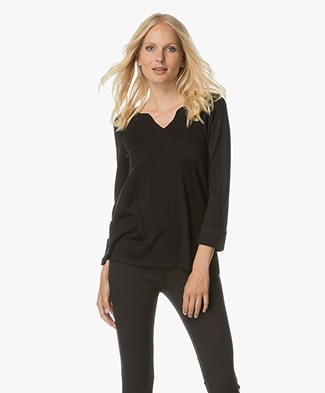 Repeat Fine Knitted Pullover with V-split Neck - Black