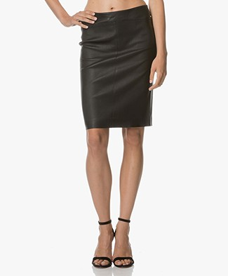 Repeat Leather Pencil Skirt - Black