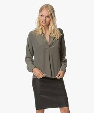 Repeat Silk Blouse - Khaki