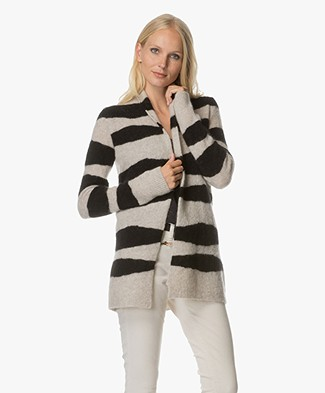 no man's land Striped Open Cardigan - Core Black/Feather