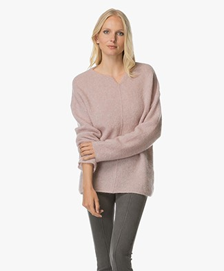 no man's land Mohair and Wool Blend Pullover - Soft Blush