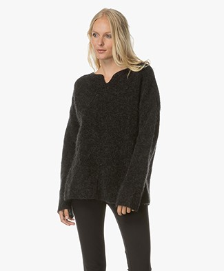 no man's land Mohair and Wool Blend Pullover - Anthracite