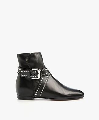 Ba&sh Shelter Leather Ankle Boots with Studded Belt - Black