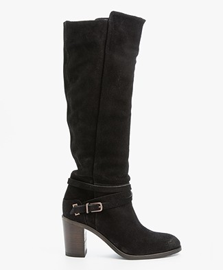 Fred de la Bretonière High Suede Boots - Black