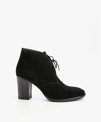 Fred de la Bretonière Suede Lace-Up Ankle Boots - Black