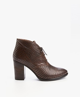 Fred de la Bretonière Leather Lace-Up Ankle Boots - Brown