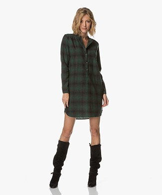 BY-BAR Doa Checkered Tunic Dress - Dark Green