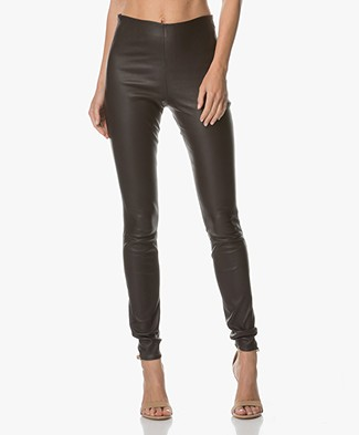 By Malene Birger Elenasoo Leather Pants - Dark Chokolate