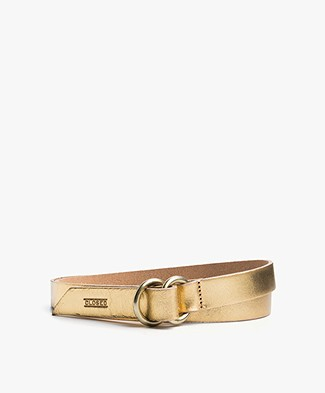 Closed Metallic Leather Belt - Golden Sun