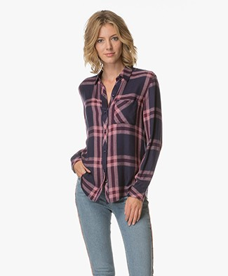 Rails Hunter Checkered Blouse - Admiral/Cranberry