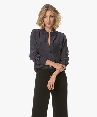 Drykorn Elza Blouse in Cupro and Modal - Dark Blue