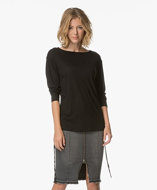 Filippa K Drawstring Jersey Wrap Shirt - Zwart