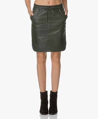 BY-BAR Sporty Leather Skirt - Dark Green