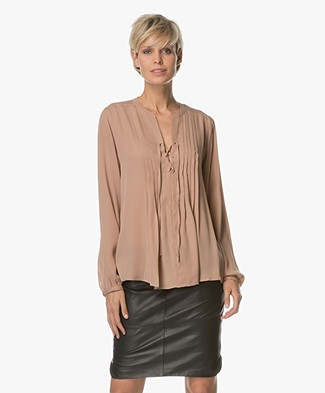 Repeat Silk Blouse with Lace Closure - Camel