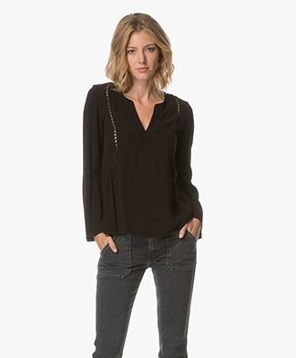 Ba&sh Mason Top with Open-worked Details - Black