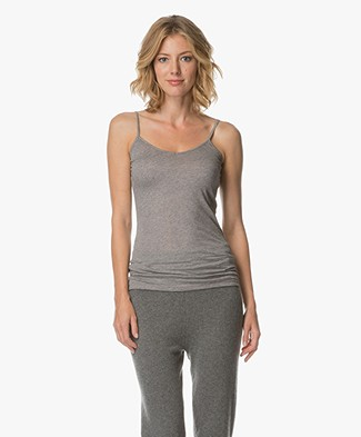 Closed Spaghetti Strap Top in Cotton and Cashmere - Grey Dust Melange