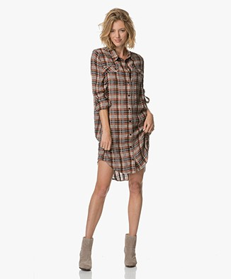 Project AJ117 Heloisa Checkered Shirt Dress - Garnet