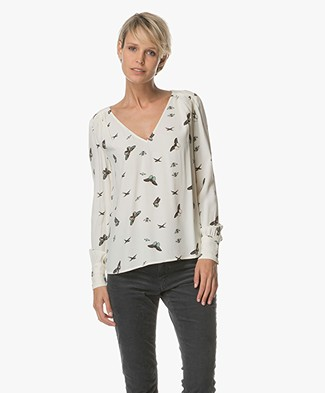 Ba&sh Brighton Top with Print - Ecru