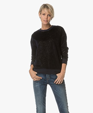 Drykorn Skadi Velvet Sweater - Dark Blue