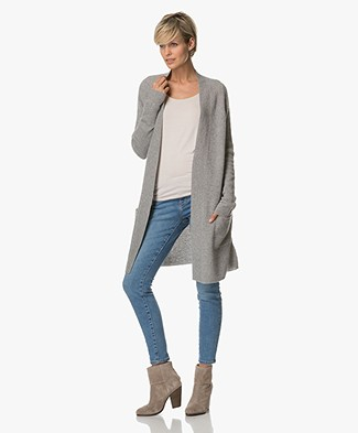 Repeat Cashmere Long Open Cardigan - Light Grey
