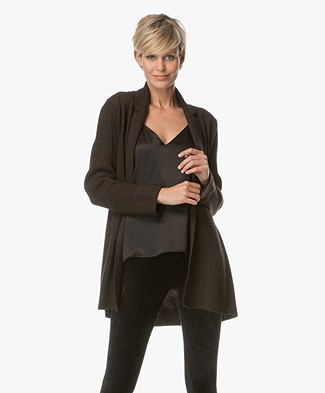 Repeat Wool and Cashmere Open Cardigan - Dark Brown